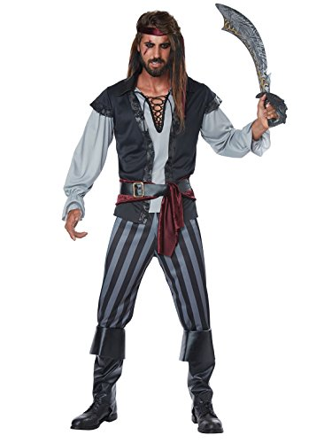 (California Costumes Men's Scallywag Pirate Adult Man Costume, Black/Gray)