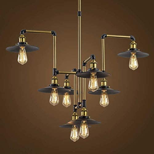 Industrial Splendid 8 Lights 40 Large Bronze Chandelier – LITFAD Vintage Retro Edison Metal Hanging Ceiling Light Gorgeous Pendant Light Bar Lighting Fixture for Dining Room Kitchen Bedroom Bar