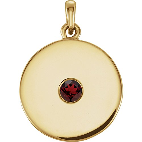 (Bonyak Jewelry Red Garnet Mozambique Garnet Disc Pendant in 14k Yellow Gold)
