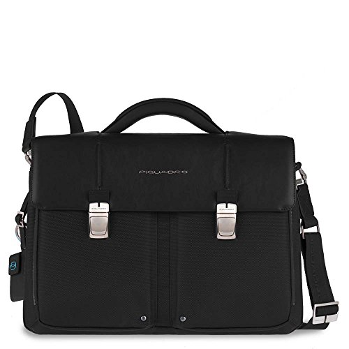 Piquadro Organized Computer Briefcase with Two Compartments, Black, One (Two Compartment Briefcase)