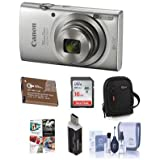 Canon PowerShot ELPH 180 20MP Digital Camera, 8x Optical Zoom Silver - Bundle With 16GB Class 10 SDHC Card, Spare Battery, Camera Case, Cleaning Kit, Card Reader, Software Package