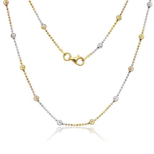 Italian Sterling Silver Tri-Color 3.2mm Diamond-Cut Moon-Bead Chain (Tri Color Necklace)