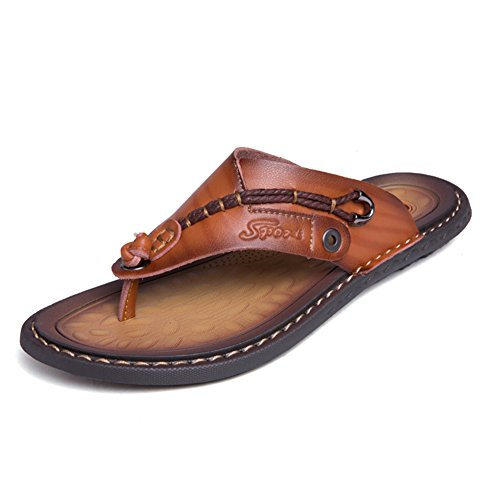 Sandals for Men Classic Leather Anti-skidding Flip-Flops Beach Slippers Outdoor Brown (Leather Brown Sandals)