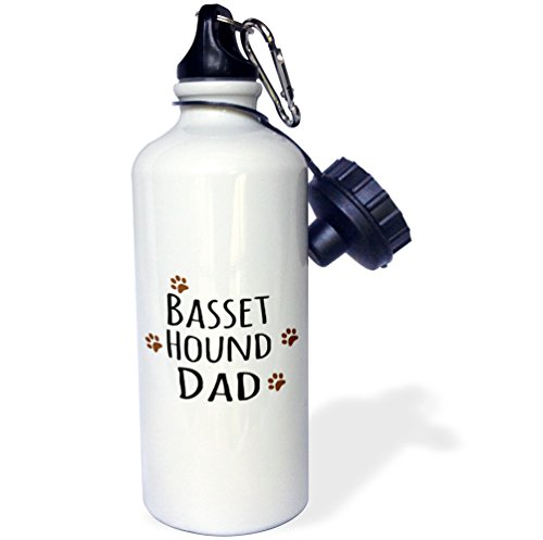 "3dRose wb_153855_1 ""Basset Hound Dog Dad-Doggie by breed-brown muddy paw prints-doggy lover-pet owner love"" Sports Water Bottle, 21 oz, White"