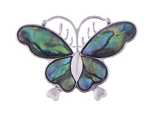 (Alilang Silvery Tone Abalone Colored Stone Dark Butterfly Insect Wings Brooch Pin )