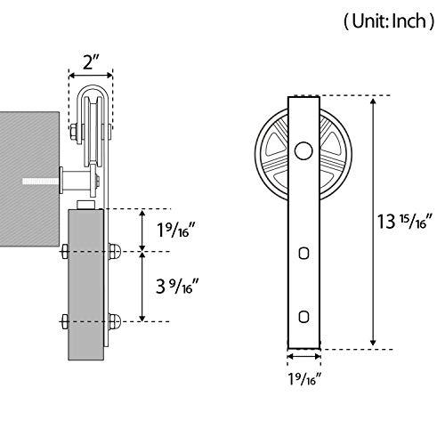 16ft Double Door Sliding Barn Door Hardware Kit - Smoothly and Quietly - Easy to Install - Includes Step-by-Step Installation Instruction -Fit 42''-48'' Wide Door Panel(Big Industrial Wheel Hanger) by SMARTSTANDARD (Image #4)