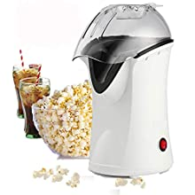 Popcorn Machine Hot Air Popcorn Maker with Wide Mouth Design,Electric Portable Popcorn Popper with Removable Lid for Home/Family/Party,No Oil Needed (White)