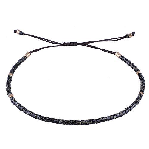 Seed Beaded Rope - KELITCH Seed Beaded Friendship Bracelets Thin Rope Bracelets Women Handmade Jewelry (Black)