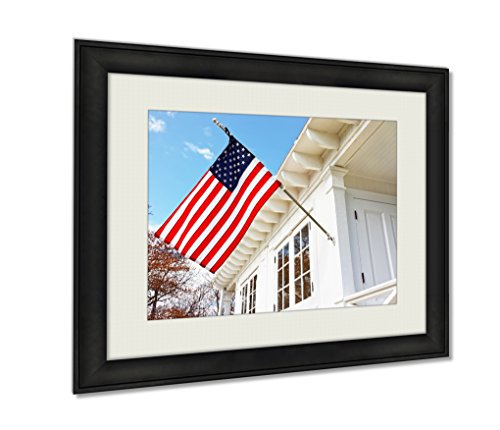 Ashley Framed Prints American Flag On Sandy Hook Light House Museum Art photography interior