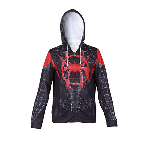 Spider Costumes For Adults (Superhero Halloween New into The Spider Verse Miles Morales Cosplay Costume Men Hoodie (Adult-L Black)