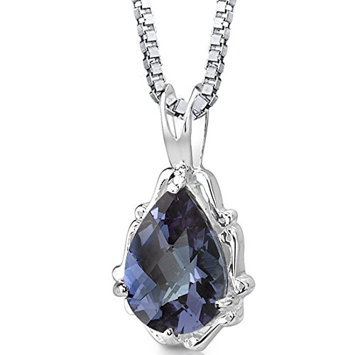 Pear Shape Setting - Simulated Alexandrite Pendant Necklace Sterling Silver Rhodium Nickel Finish Pear Shape