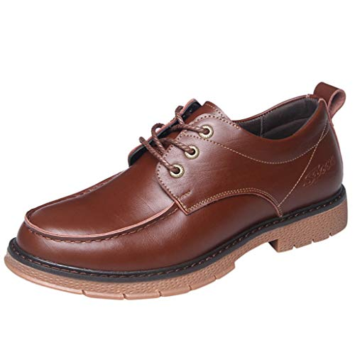 WILLBE Men Oxford Leather Shoes, Wedding Business Pointed Oxfords Casual Formal BootsWaterproof Boot Lace-up Ankle Boots Brown