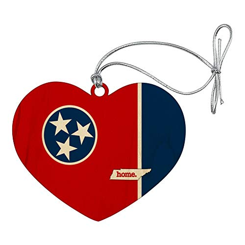 - GRAPHICS & MORE Tennessee TN Home State Flag Officially Licensed Heart Love Wood Christmas Tree Holiday Ornament
