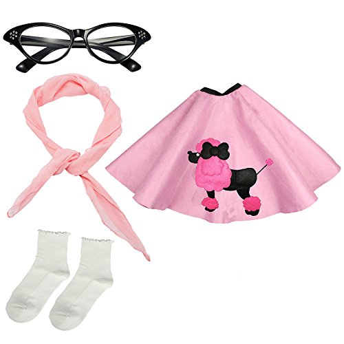 Girls 1950s Costume Accessory Set - Poodle Skirt, Chiffon Scarf, Cat Eye Glasses,Bobby Socks (Pink) -