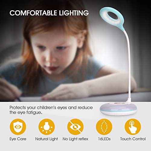 Mafiti LED Desk Lamp with Color Changing RGB Base , Eye-Caring Table Lamp with 3 Brightness Levels, Touch Control, Adjustable Gooseneck, Touch Sensor Bedside Lamps Warm White Light