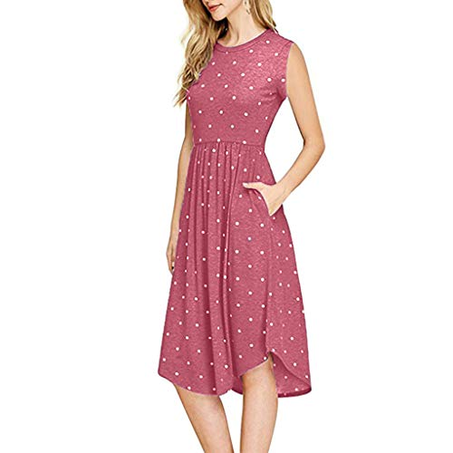 (TOTOD 2019 New Dress for Women - Summer Pleated Polka Dot Pocket Loose Swing Casual Midi Dresses Red)