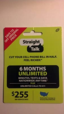 Amazon Com Straight Talk 6 Months Unlimited Refill Service Card