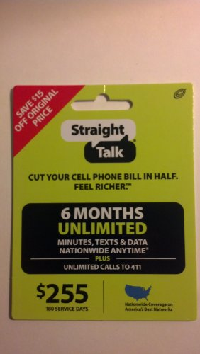 Straight Talk 6 Months Unlimited Refill/Service Card (Mail Delivery) (Straight Talk Prepaid Card)