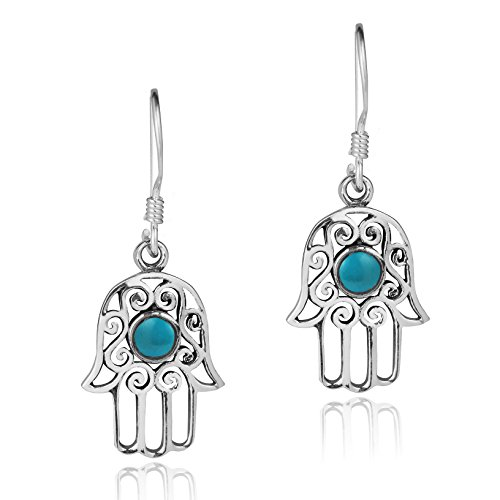 Dainty Swirl Hamsa Hand Blue Simulated Turquoise Center .925 Sterling Silver Earrings