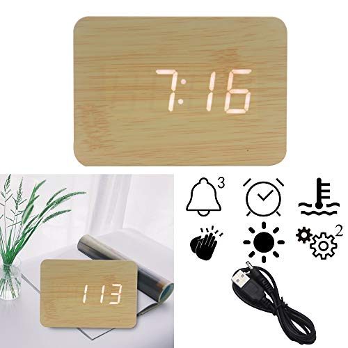 OFLILAK Wooden Digital Alarm Clock, 4 Level Adjustable Brightness and Voice Control, Display Time Temperature Date for Bedroom Office Home(Bamboo)