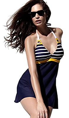 Kathlena Women's One Piece Swimsuit Navy Stripe Tankini Style with Falsies