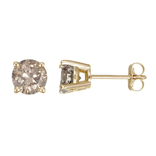 0.30 cttw Champagne Diamond Stud Earrings 14k Yellow Gold