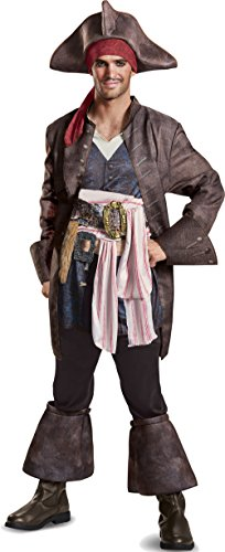 Disney Men's Plus Size POTC5 Captain Jack Sparrow Deluxe Adult Costume, Brown, Medium (Captain Jack Sparrow Jacket)