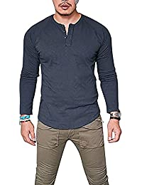 Mens Henley T-Shirts Long Sleeve Crew Neck with Button Slim Fit Plain Color Cotton Tops