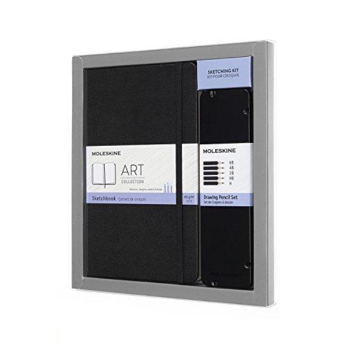 - Moleskine Art Collection Sketching Kit - Sketchbook Large + Drawing Pencils Set, Large, Plain, Black, Hard Cover (5 x 8.25)