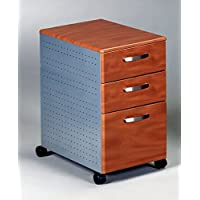 Mayline 3 Drawer Pedestal File W/Wheels Two Box Drawers & One File Drawer 15W X 22D X 27 1/2H - Medium Cherry