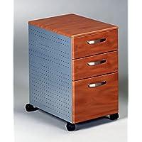 Mayline 3 Drawer Pedestal File W/Wheels Two Box Drawers & One File Drawer 15W X 22D X 27 1/2H - Medium Cherry