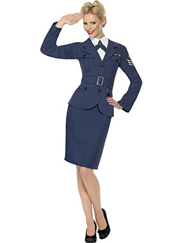 Smiffys Women's WW2 Air Force Female Captain Costume, Jacket, Skirt, Mock Shirt with Tie and Belt, Wartime 40's, Serious Fun, Size 10-12, -