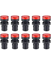uxcell 10Pcs Red Indicator Light AC/DC 110V, 22mm Panel Mount, for Electrical Control Panel, HVAC, DIY Projects
