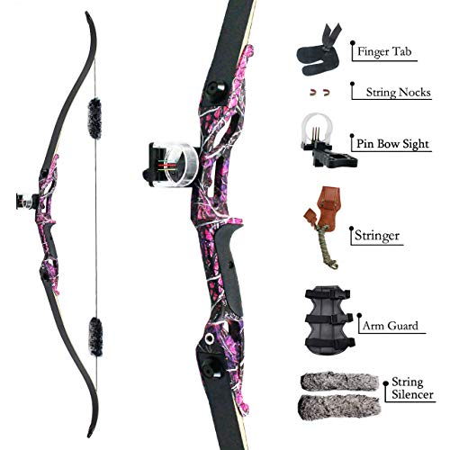 """SinoArt 56"""" Recurve Bow with 30"""" Max Draw 30 35 40 45 50lb Draw Weight Right Hand Outdoor Hunting Bows&Arrows Archery Set (Purple) (35LB)"""