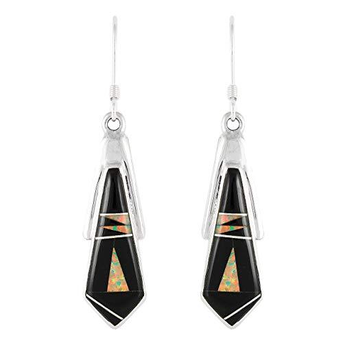Southwest Gemstone - Southwest Style Earrings 925 Sterling Silver & Gemstones (Choose Color) (Black & Opal)