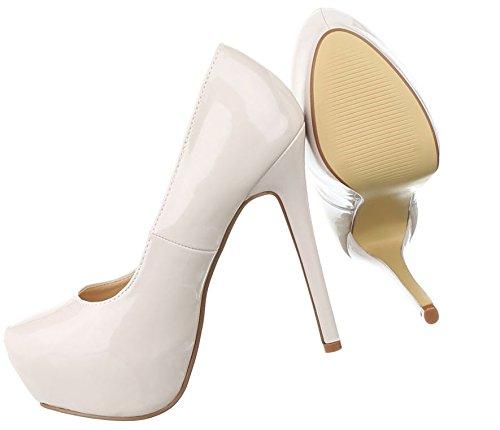 Damen Pumps Schuhe High Heels Stöckelschuhe Stiletto Beige Multi 36 RVmGP4e