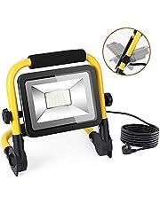 Projecteur LED, 4500LM Lampe de Support Portable, 50W Projecteur de Travail avec 3 Modes D'éclairage, IP66 Étanche, Cordon D'alimentation Extra Long de 5M, pour Réparation, Jardin, Terrasse, Garage