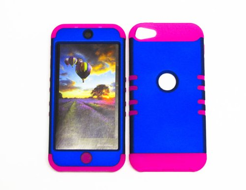 HYBRID SHOCK RESISTANT BUMPER COVER SOLID CASE AND HOT PINK SKIN WITH STYLUS PEN KOOLKASE ROCKER FOR Apple IPod ITouch 5 BLUE MA-A008-IC