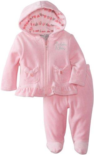 Calvin Klein Baby-Girls Newborn Velour Hooded Track Suit