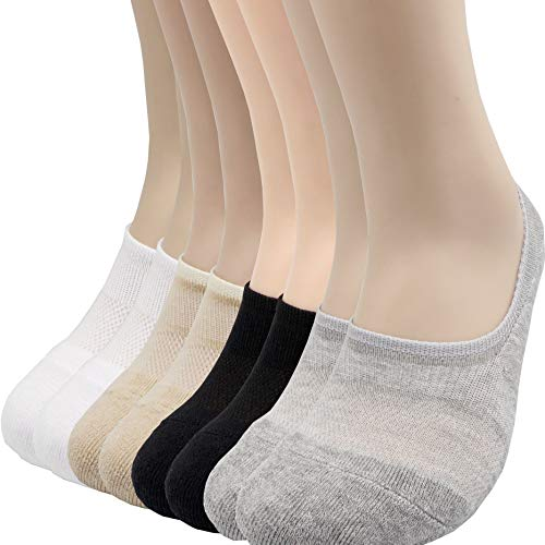 Cushion Sneakers - Pro Mountain Men's No Show Flat Cushion Athletic Cotton Footies Sneakers Sports Socks (S(US Women Shoes 5.5~7.5), 4color assorted 8pairs Pack S-size)