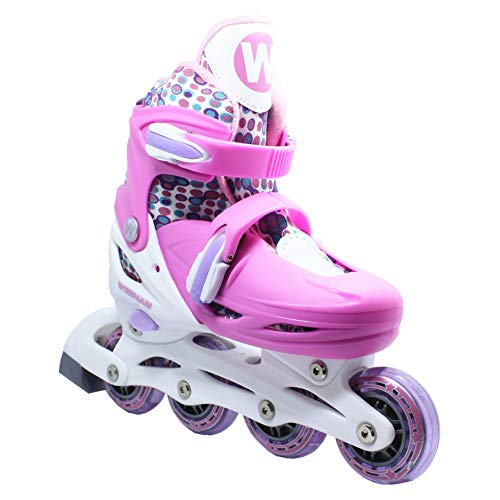 WiiSHAM Fun Roll Adjustable Canvas Roller Skates with Four Piles... (2, Small)