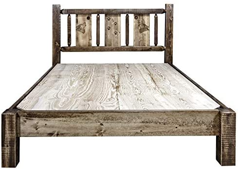 Montana Woodworks MWHCPBCAKSLLZWOLF Glacier Country Collection King Platform Bed Stain and Clear Lacquer Finish
