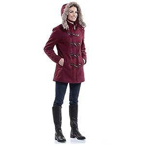alpine swiss Duffy Women's Burgundy Wool Coat Fur Trim Hooded Parka Jacket Small