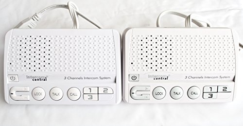 Intercom Central 413 - Three Channels HOME Power-line Intercom System, 3 Wire, White, Two Stations Set (Wireless Intercom System)