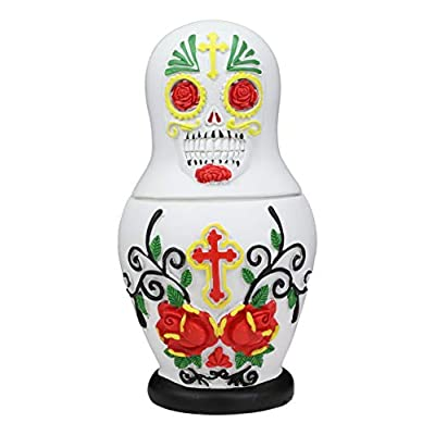 Ebros 3 Piece Set Day of The Dead Sugar Skulls Spirit Skeletons Nesting Dolls Matroyshka Babushka Figurines 6
