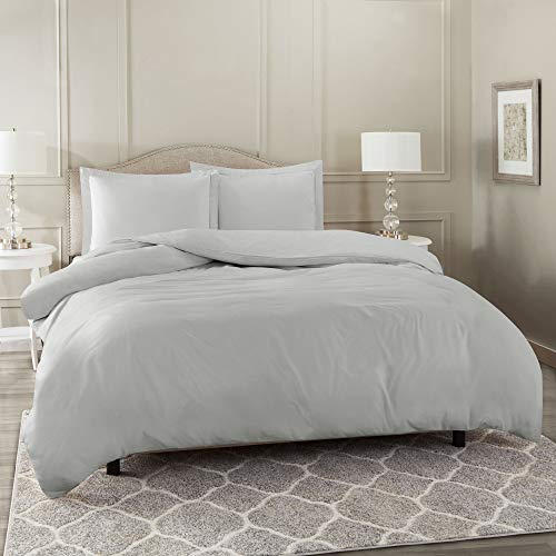 Nestl Bedding Duvet Cover, Protects and Covers your Comforter/Duvet Insert, Luxury 100% Super Soft Microfiber, Queen Size, Color Light Gray, 3 Piece Duvet Cover Set Includes 2 Pillow Shams
