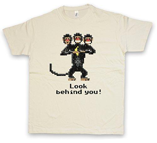 LOOK BEHIND YOU! T-SHIRT – mono Three Headed Monkey The Game Secret Caribbean of Monkey East Island Tamaños S – 2XL