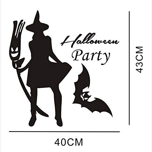 Halloween Wall Decal Sticker Ankola Witch and Bat Halloween Wall Decal Sticker Art Décor (15.7X 16.9'', Black) -