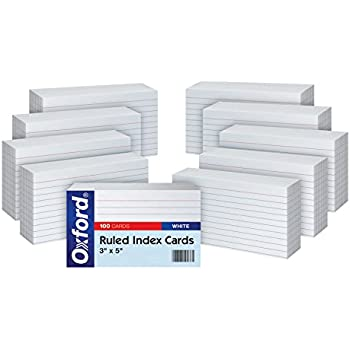 """Oxford Ruled Index Cards, 3"""" x 5"""", White, 10 Packs of 100 (31EE)"""