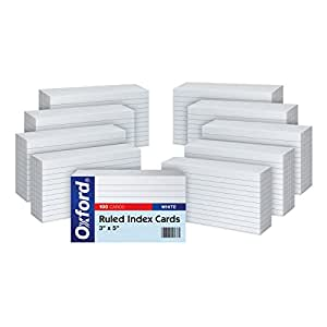 "Oxford Ruled Index Cards, 3"" x 5"", White, 10 Packs of 100 (31EE)"
